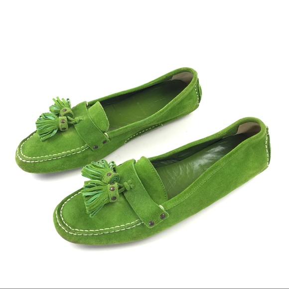 e91b3ff9d15 J. Crew Shoes - J Crew Green Suede Tassel Driving Mocs Size 8